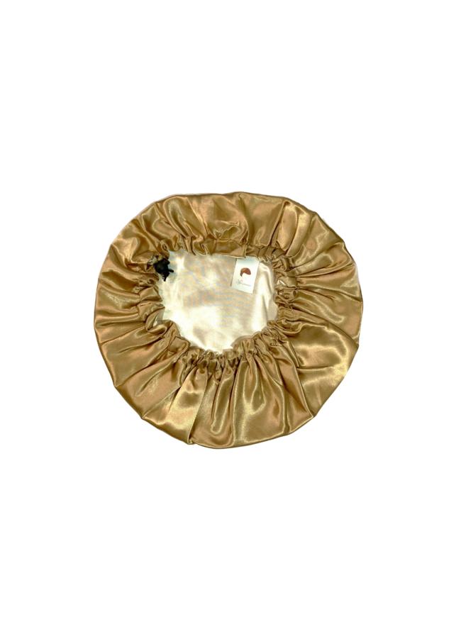 Gold Adjustable & Reversible Satin Bonnet