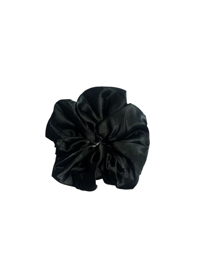 Black Oversized Satin Scrunchie